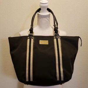 Michael Kors Black Striped Fabric Tote Bag